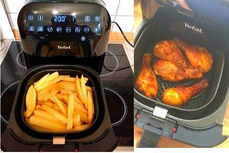 cestillo de la freidora sin aceite tefal fx2028 con patatas fritas y muslos de pollo
