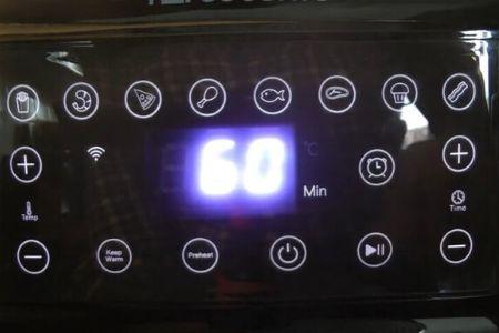 display de la freidora proscenic donde podemos ver los modos de cocción, seleccionar la temperatura y el tiempo