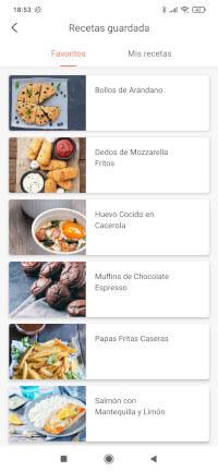 Recetas elegidas como Favoritos en la app de la freidora de aire Cosori wifi