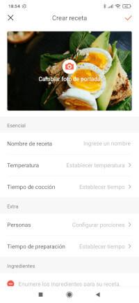 """La opción """"crear receta"""" nos permite diseñar nuestras propias recetas y guardarlas en la app"""