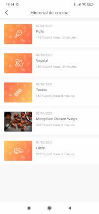 """La opción """"historial de cocina"""" nos muestra las últimas recetas cocinadas con nuestra freidora Cosori"""