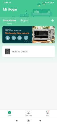 la app de la freidora Cosori nos muestra nuestra freidora conectada y encendida