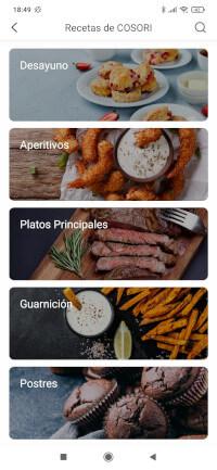 Menú de las recetas de Cosori, las opciones son: desayuno, aperitivos, platos principales, guarnición y postres