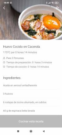 receta de huevo cocido en cacerola en la app de freidora Cosori