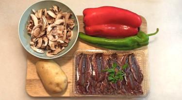 Boquerones con patatas y verduras con freidora sin aceite 1