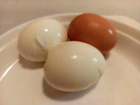 3 huevos duros cocidos en freidora sin aceite