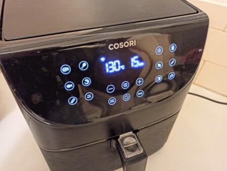 freidora de aire Cosori a 130 grados durante 15 minutos para hacer huevos duros