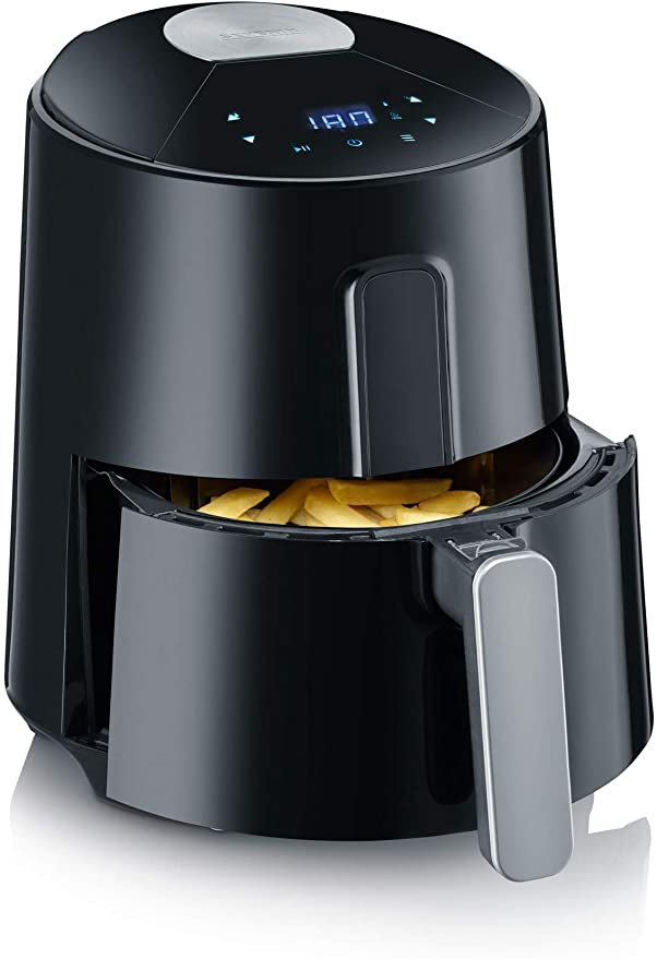 Severin FR 2465 Freidora de aire sin aceite Comfort Premium, 1300 W, 3.5 litros, Negro/Acero